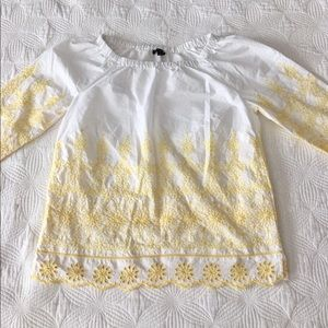 Talbots Petite Embroidered Eyelet Blouse • P/Small
